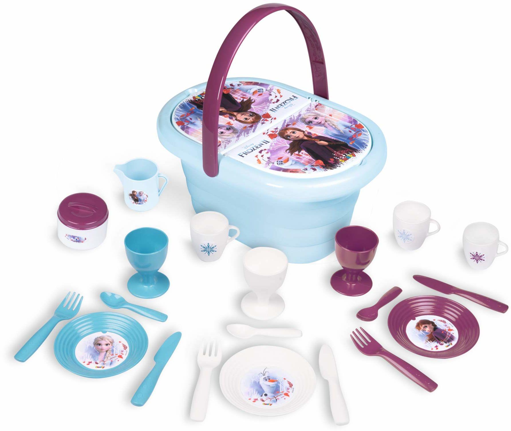 Disney 310511 ''Frozen 2 dzieci ładny kosz piknikowy ze składaną pokrywą plus 20 kolorowych akcesoriów Wiek 3 i góry, Panier Pique Nique