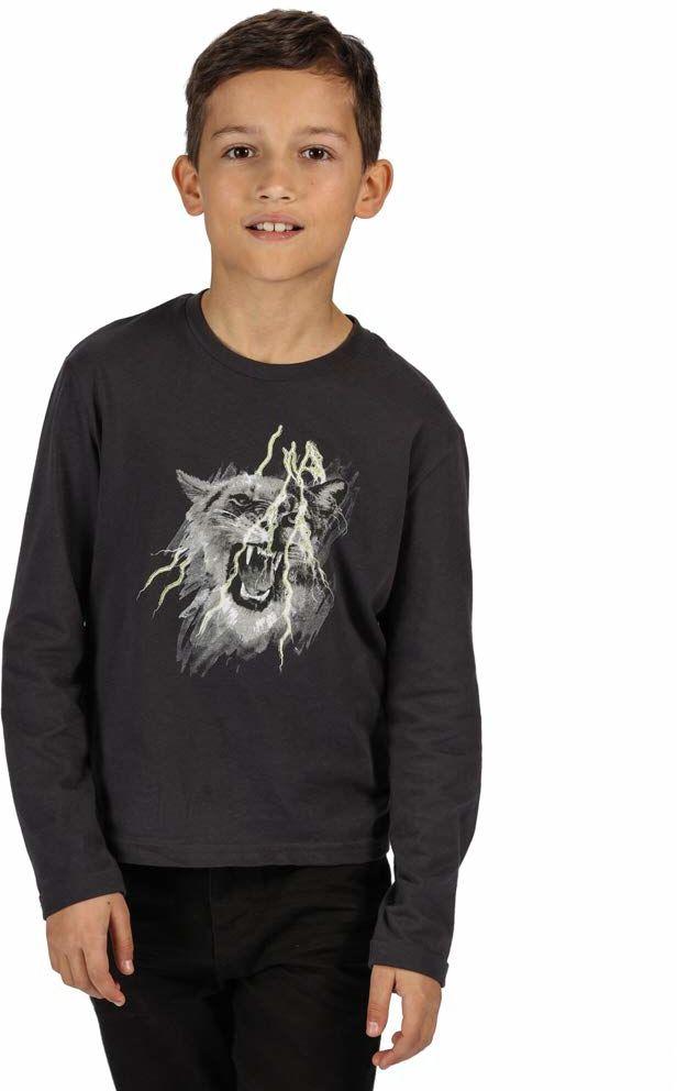 Regatta Unisex dzieci Wenbie bawełniany T-shirt z długim rękawem z nadrukiem graficznym T-shirty/polos/kamizelki Szary Seal Grey 5-6