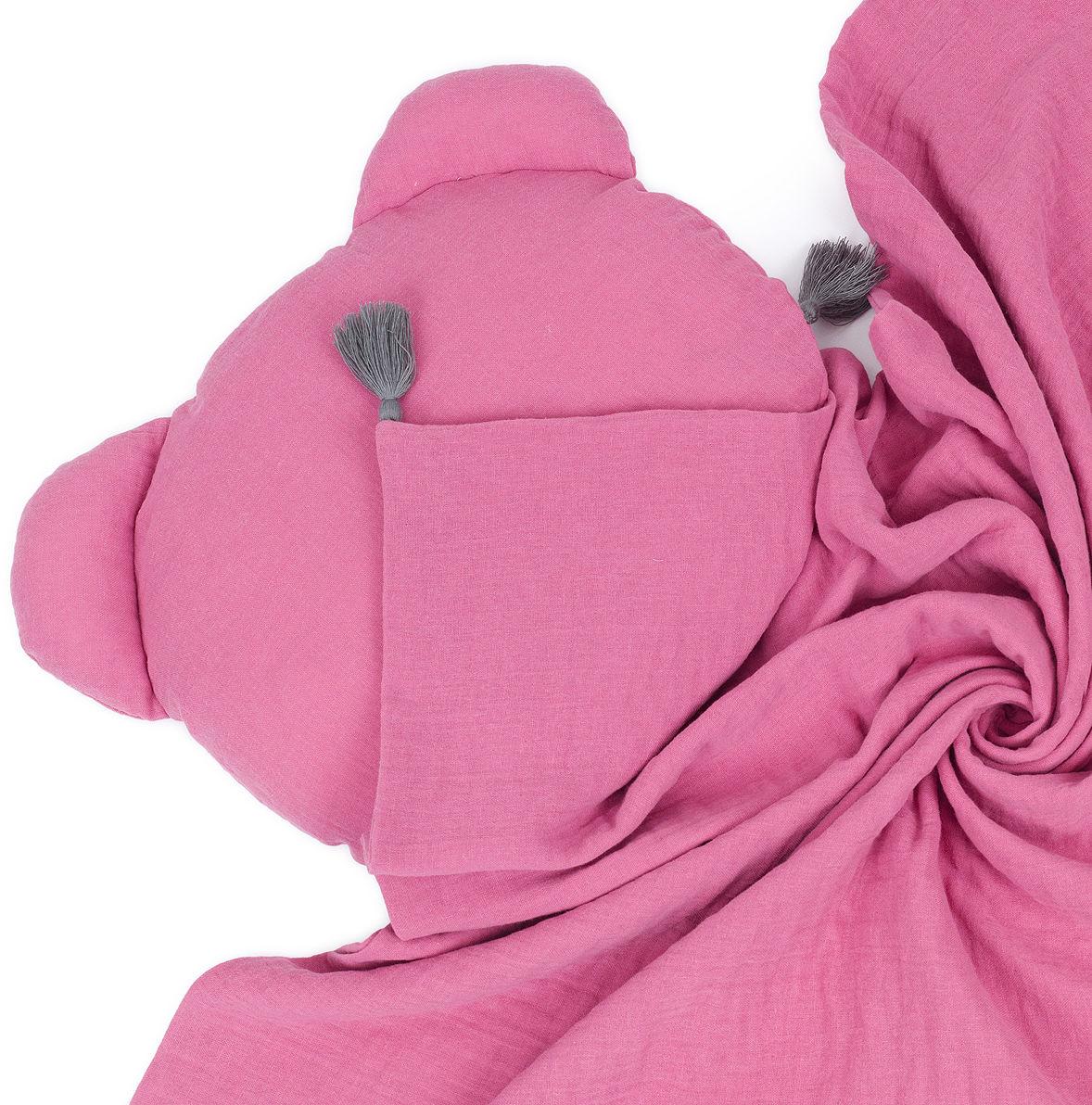 MAMO-TATO Komplet kocyk muślinowy + poduszka MIŚ Double Gauze dla dzieci i niemowląt z chwostami - Turmalin