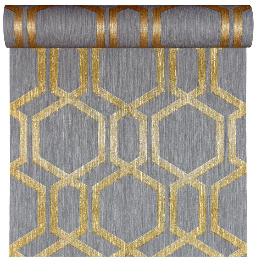 Tapeta geometryczna DIAMOND szaro-złota winylowa na flizelinie