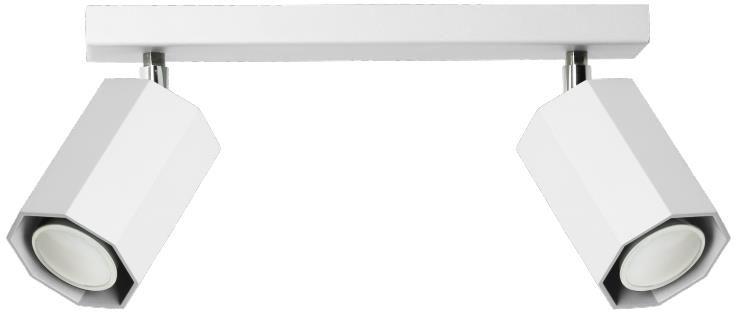 Lampex Hex 2 744/2 BIA spot oprawa sufitowa biała nowoczesny 2x40W GU10 30cm