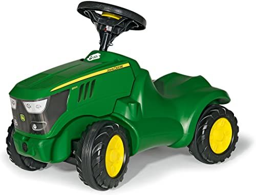 Rolly Toys 132072 Traktor Minitrac John Deere 6150R, podnośnik niemowlęcy, otwierany maskę silnika, schowek pod maską silnika, kierownica z klaksonem (dla dzieci w wieku od 1,5 lat, kolor: zielony)