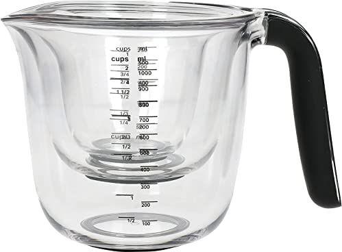 KitchenAid Zestaw 3 kubków z miarką, nadaje się do mycia w zmywarce  duży 4 kubek (1 l), 2 filiżanki (500 ml) i 1 kubek (250 ml)  czarny