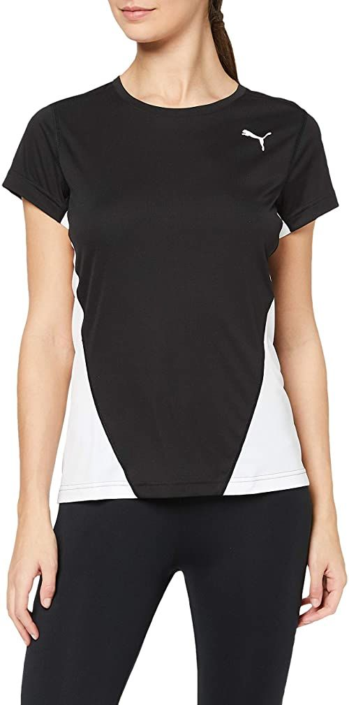 PUMA damska koszulka Cross the Line W koszulka, czarny biały, XL