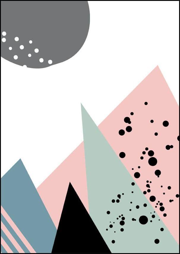 Pastelowe góry - plakat wymiar do wyboru: 40x50 cm