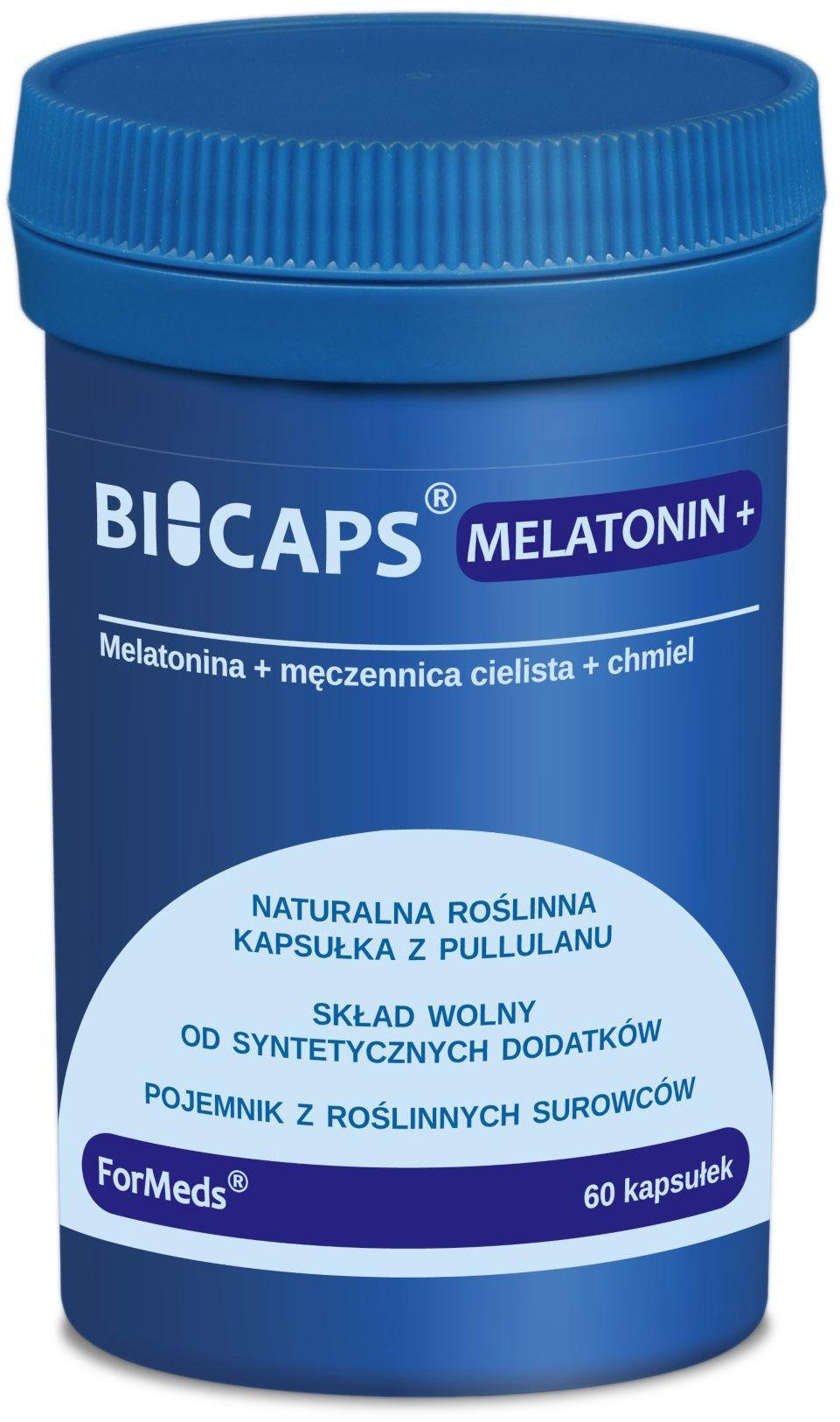 BICAPS Melatonin+ Męczennica cielista Chmiel Melatonina (60 kaps) ForMeds