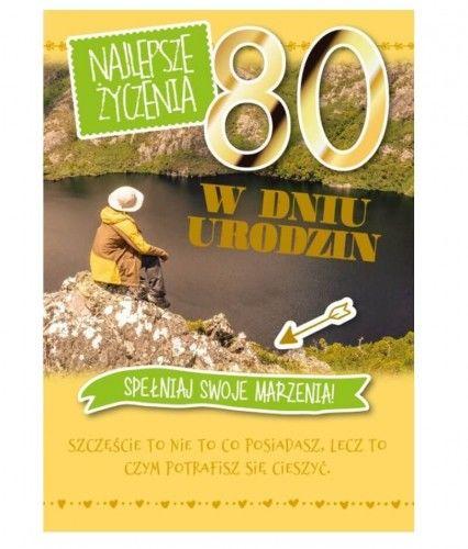 Karnet 3D na 80 urodziny Spełniaj swoje marzenia, zielony
