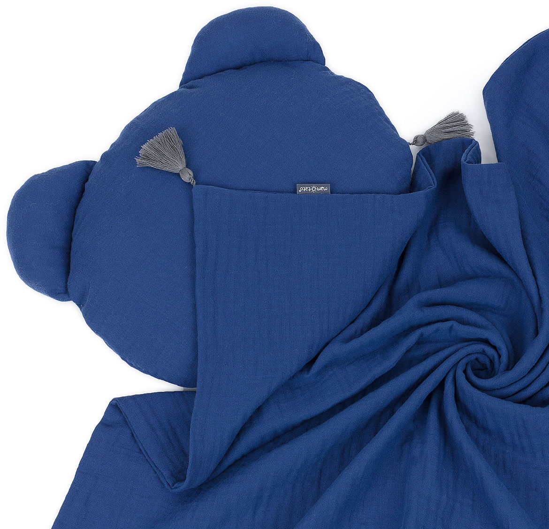 MAMO-TATO Komplet kocyk muślinowy + poduszka MIŚ Double Gauze dla dzieci i niemowląt z chwostami - Granatowy