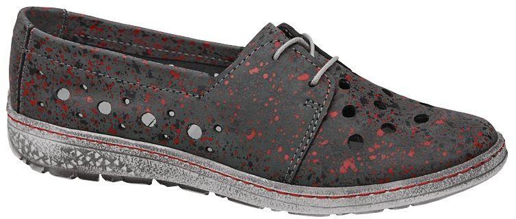 Półbuty KACPER 2-5236-820 Grafitowe ażurowe Sneakersy damskie