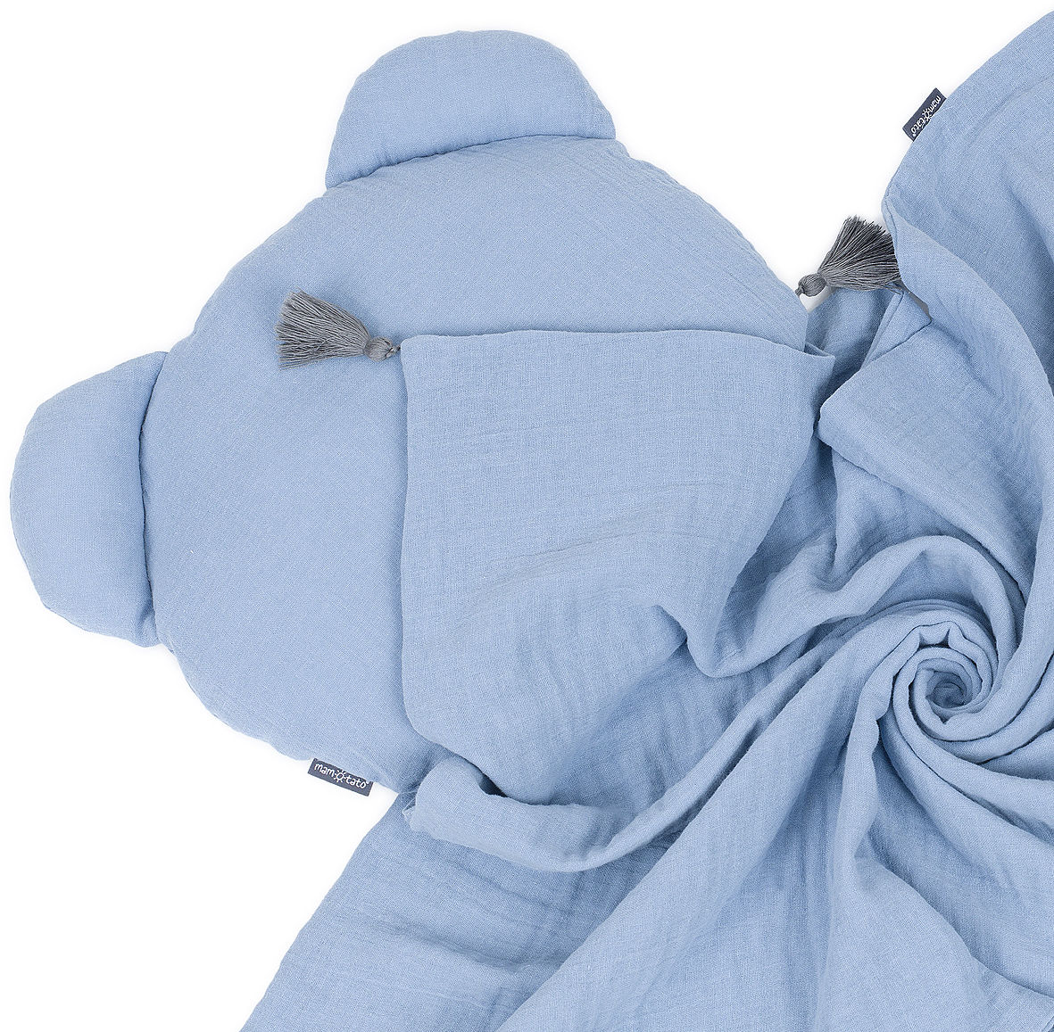 MAMO-TATO Komplet kocyk muślinowy + poduszka MIŚ Double Gauze dla dzieci i niemowląt z chwostami - Jeans