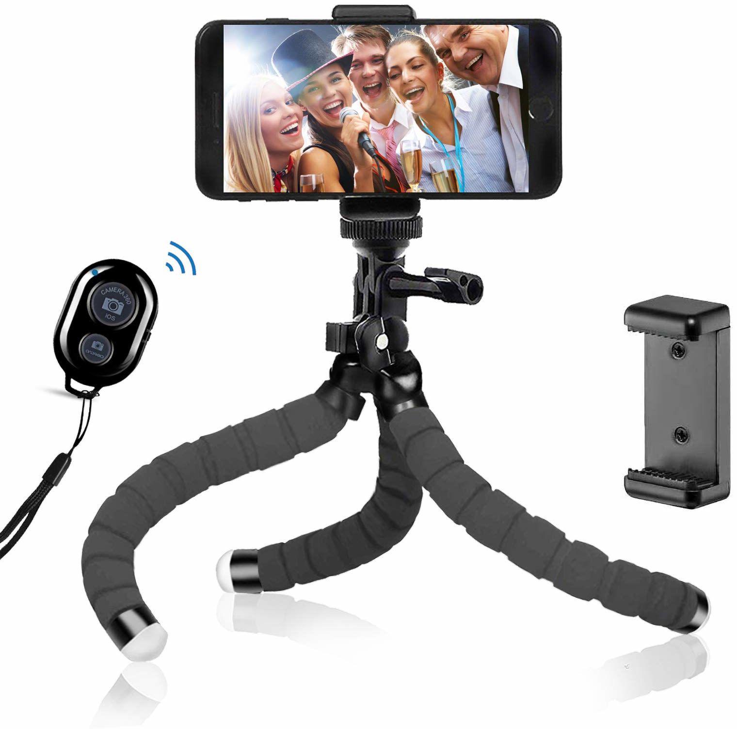 """BSET BUY Octopus Tripod Statyw do Aparatu, Trójnożny, do Aparatu i Każdego Smartfona z Uchwytem na Telefon Komórkowy, z Pilotem Zdalnego Sterowania Bluetooth, 12"""", Czarny"""