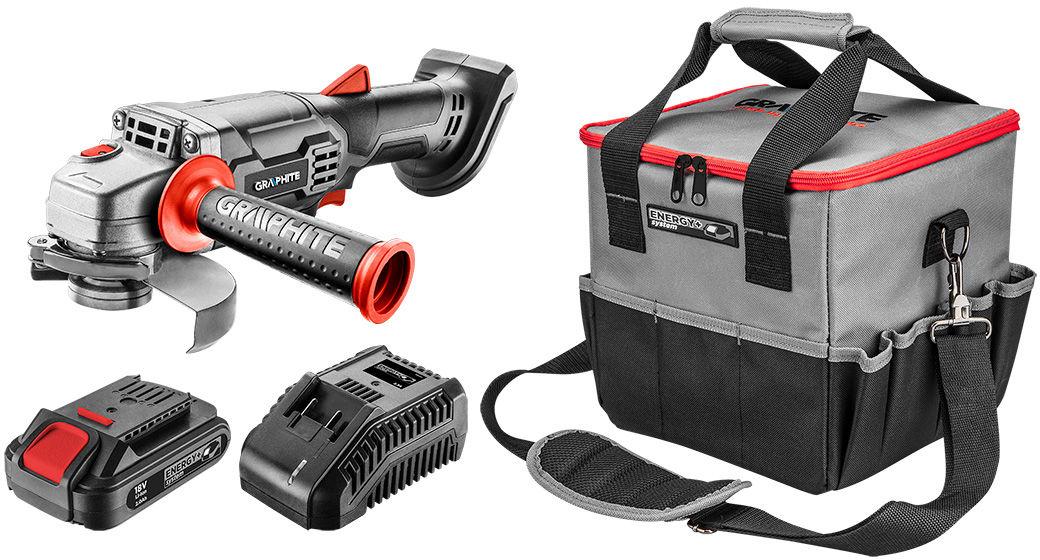 Zestaw E+: szlifierka 58G003, torba 58G015, ładowarka 58G002, akumulator 58G001