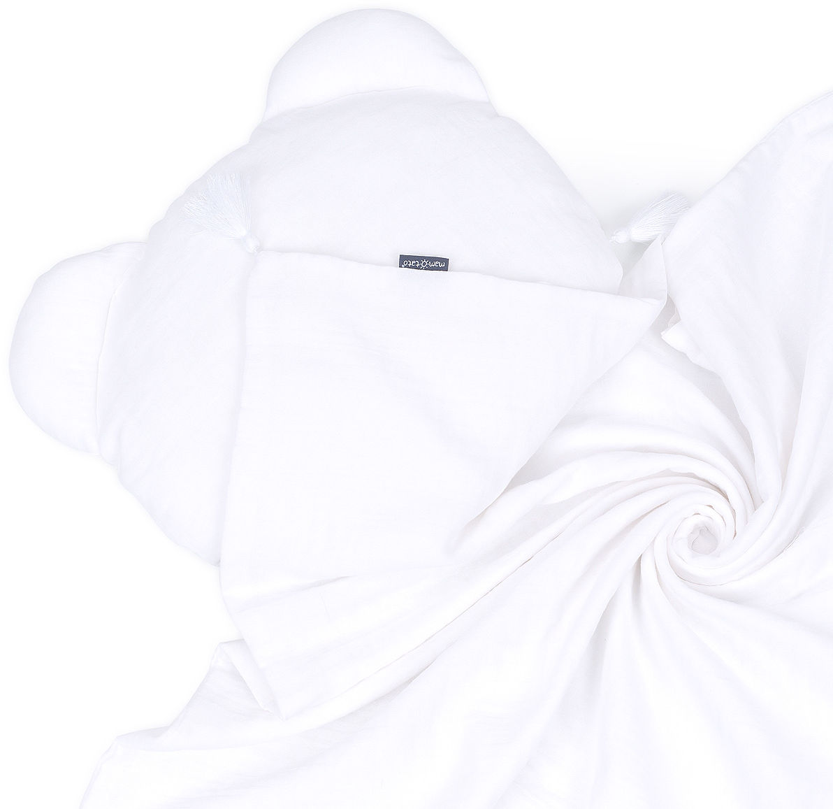 MAMO-TATO Komplet kocyk muślinowy + poduszka MIŚ Double Gauze dla dzieci i niemowląt z chwostami - Biały