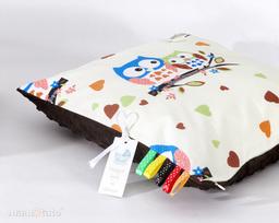 MAMO-TATO Poduszka Minky dwustronna 40x60 Sówki kremowe D / brąz
