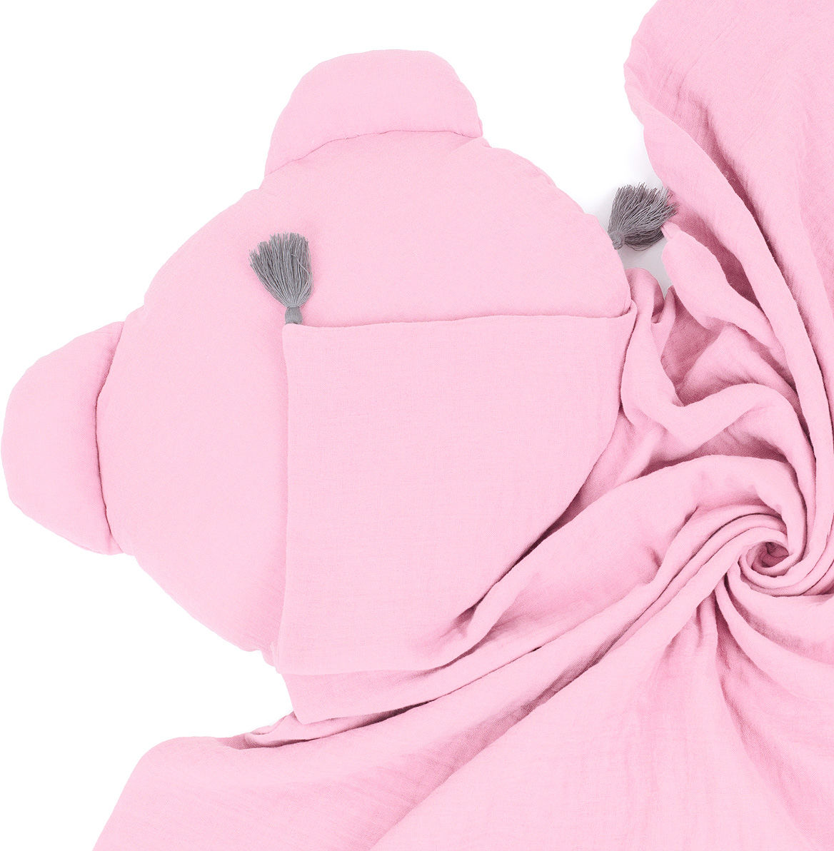 MAMO-TATO Komplet kocyk muślinowy + poduszka MIŚ Double Gauze dla dzieci i niemowląt z chwostami - Jasny róż