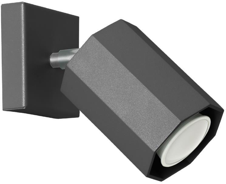 Lampex Hex czarny 744/K CZA kinkiet lampa ścienna czarna nowoczesna oprawa oświetleniowa metal GU10 1x40W 17cm