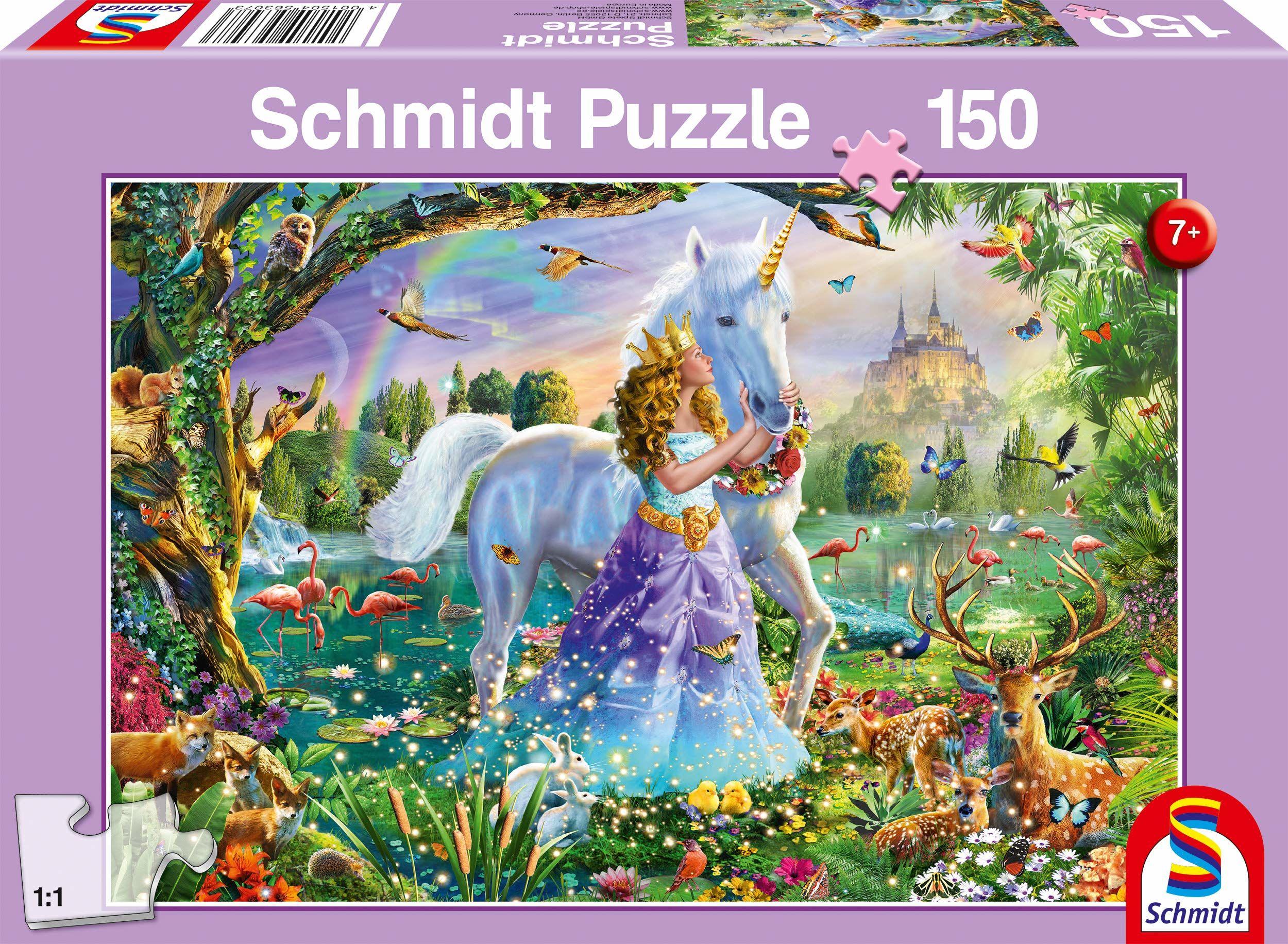 Schmidt Spiele 56307 Księżniczka z jednorożcem, 150 części puzzle