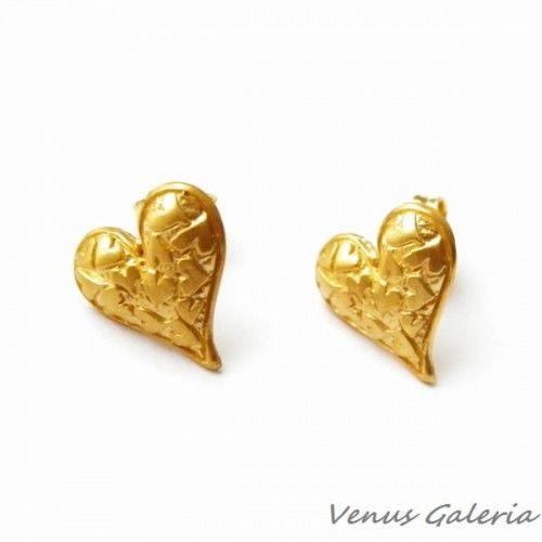 Kolczyki srebrne na sztyftach- Miłość złote
