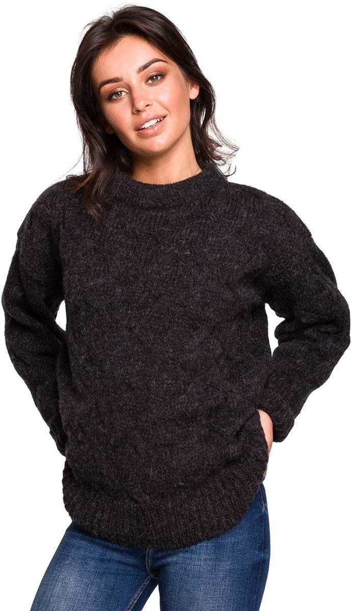 Antracytowy Ciepły Sweter z Półgolfem w Warkocze