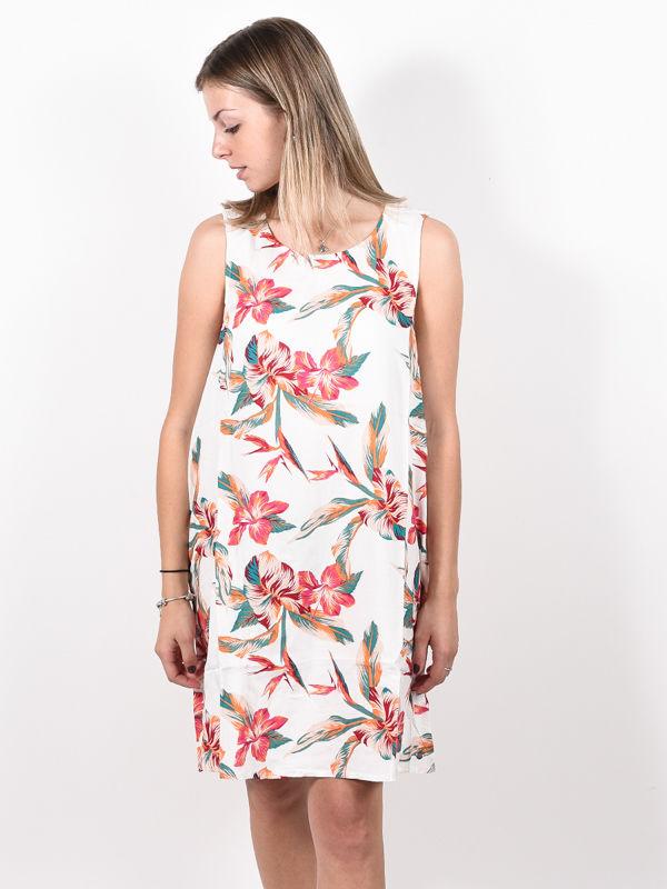 Roxy TRANQUILITY VIBES SNOW WHITE TROPIC CALL krótkie sukienki - S