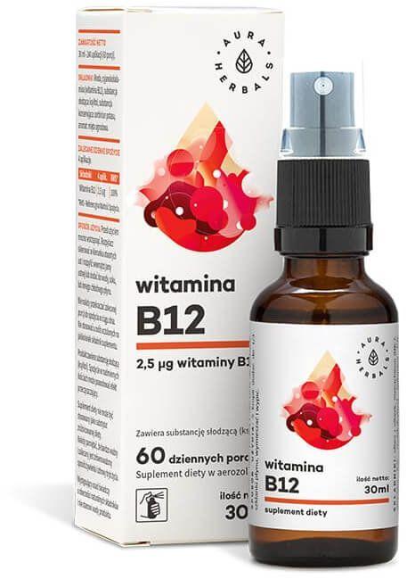 Witamina B12 Aerozol 20 ml w Płynie Aura Herbals