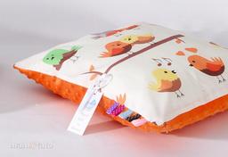 MAMO-TATO Poduszka Minky dwustronna 40x60 Ptaszki kremowe / pomarańcz