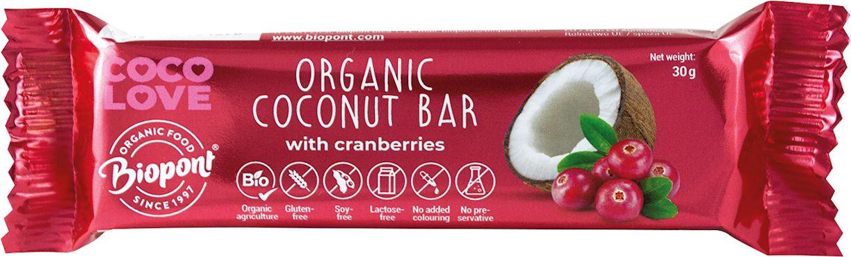 Baton kokosowy z żurawiną bezglutenowy bio 30 g - biopont