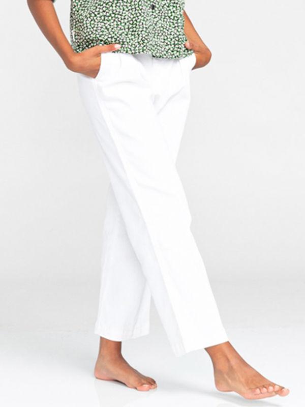 Element OLSEN COLOR off white spodnie lniane kobiety - 26