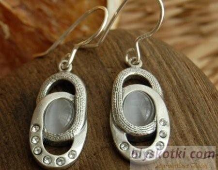 Vespa - srebrne kolczyki z kocim okiem i kryształkami