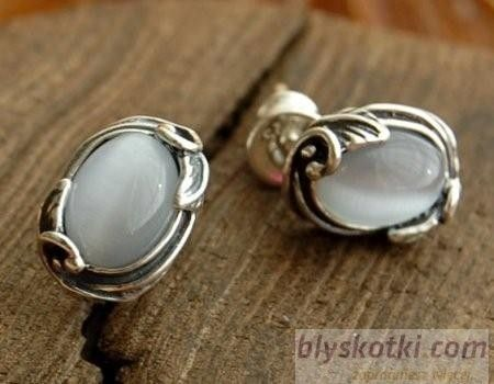 Juna - srebrne kolczyki z kocim okiem