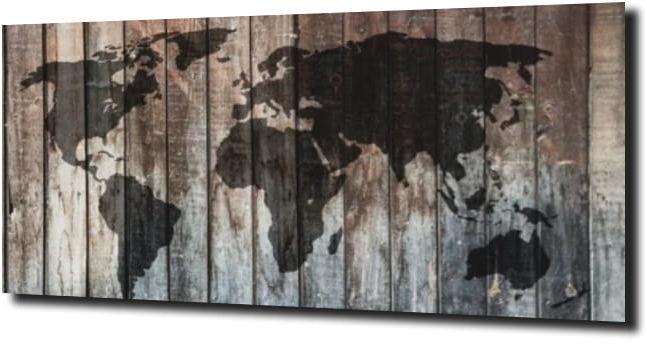 obraz na szkle Mapa deski drewno 120X60