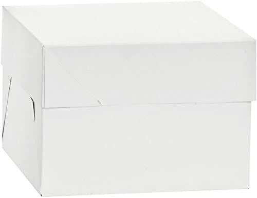 DECORA 0339471 pudełko na ciasto 26,5 x 26,5 x 15 cm, karton, białe