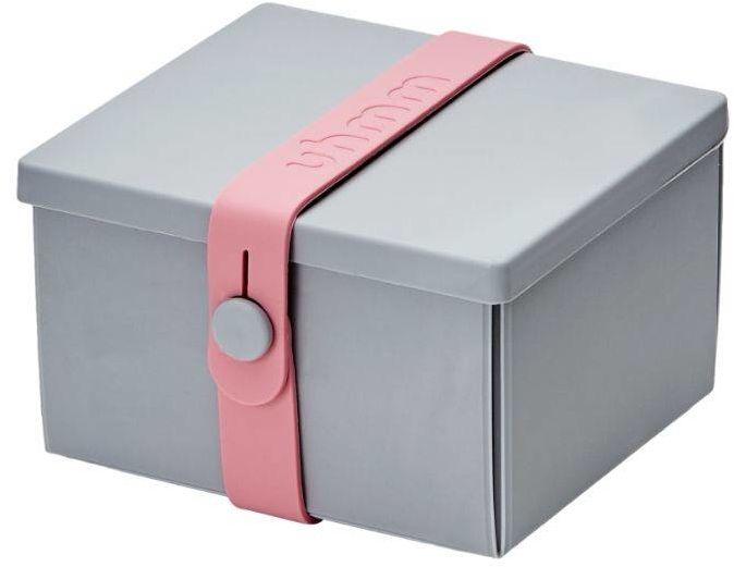 No.02 lunchbox z opaską dla dzieci Uhmm - light grey / pink