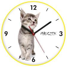 Zegar kolorowy ścienny kotek mruczek