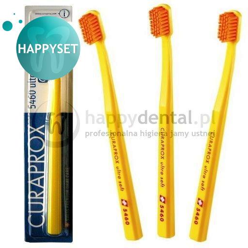 CURAPROX CS 5460 BLISTER HappySET Ultra Soft - zestaw 3 wyjątkowych szcz. do zębów