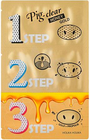 Holika Holika Pig Clear Honey Gold 3step Trzyetapowe Plastry na nos