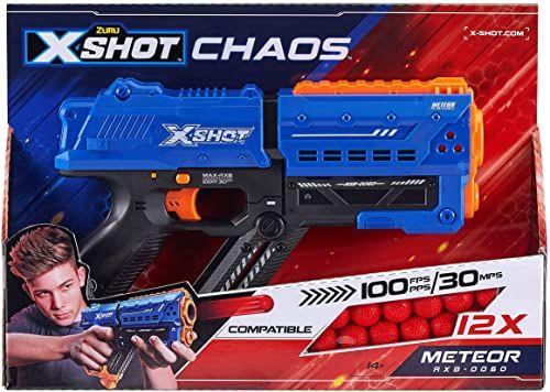 XSHOT 36282 pistolet Meteor, niebieski, METEOR-12 billes en Mousse