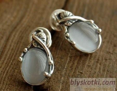 Mauricia - srebrne kolczyki z kocim okiem