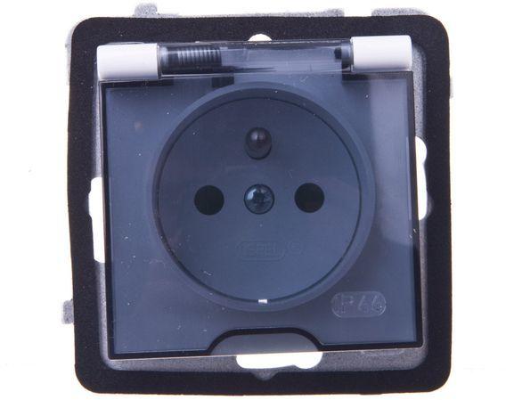 AS Gniazdo bryzgoszczelne z/u IP44 z przesłonami klapka przezroczysta srebro GPH-1GZP/m/18/d