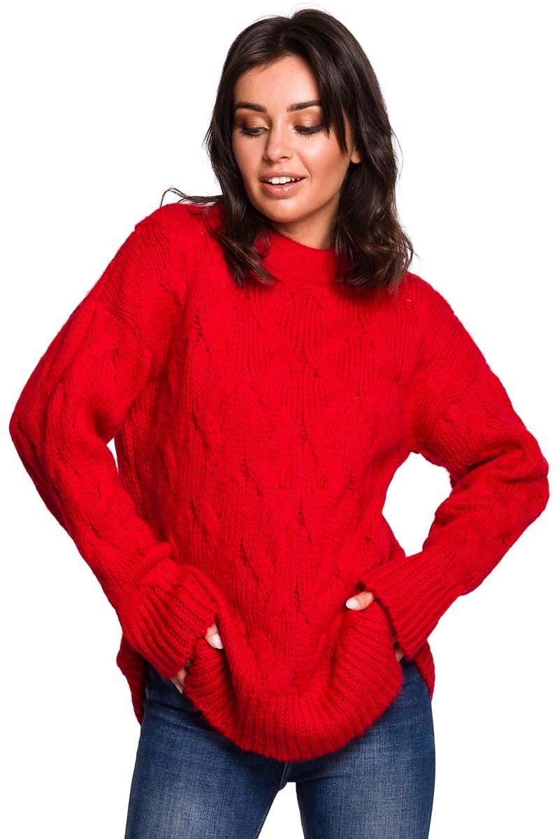 Czerwony Ciepły Sweter z Półgolfem w Warkocze