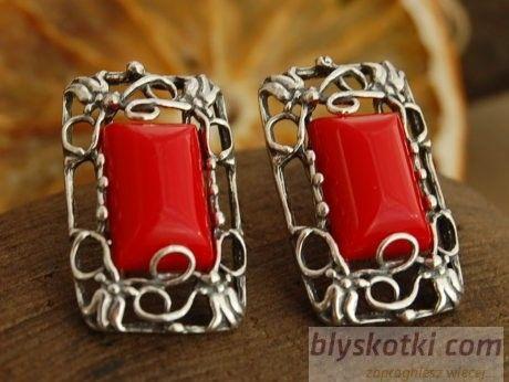 Irina - srebrne kolczyki z koralem