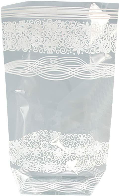 folia 287  torebki z celulozy z białym nadrukiem, ok. 18 x 30 cm, 10 sztuk  do indywidualnego pakowania ciastek, słodyczy i wielu innych