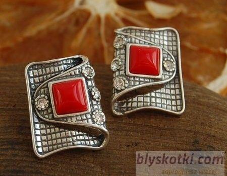 Mystic - srebrne kolczyki koral z kryształkami