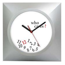 Zegar kwadratowy srebrny who cares?
