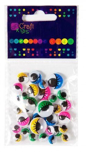 Akcesoria DALPRINT Ruchome Oczy z rzęsami mix kolorów (36szt) KSOC-007