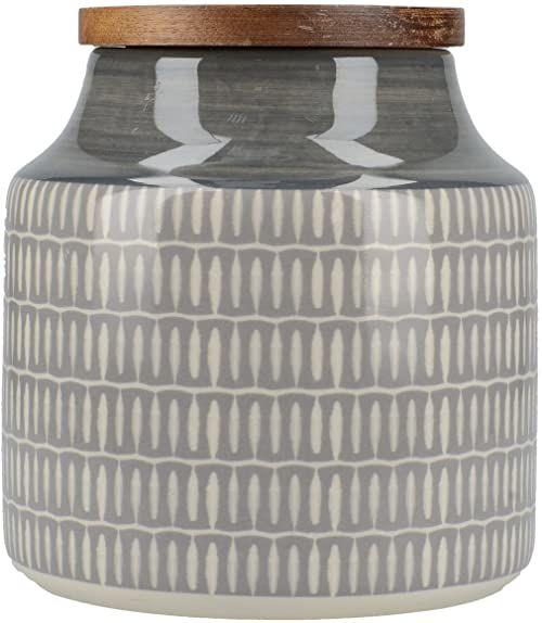 Creative Tops ceramiczny słoik na herbatę z drewnianymi pokrywkami, szary