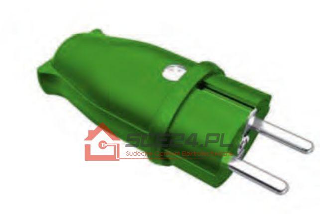 Wtyczka gumowa 230V IP44 ZIELONA