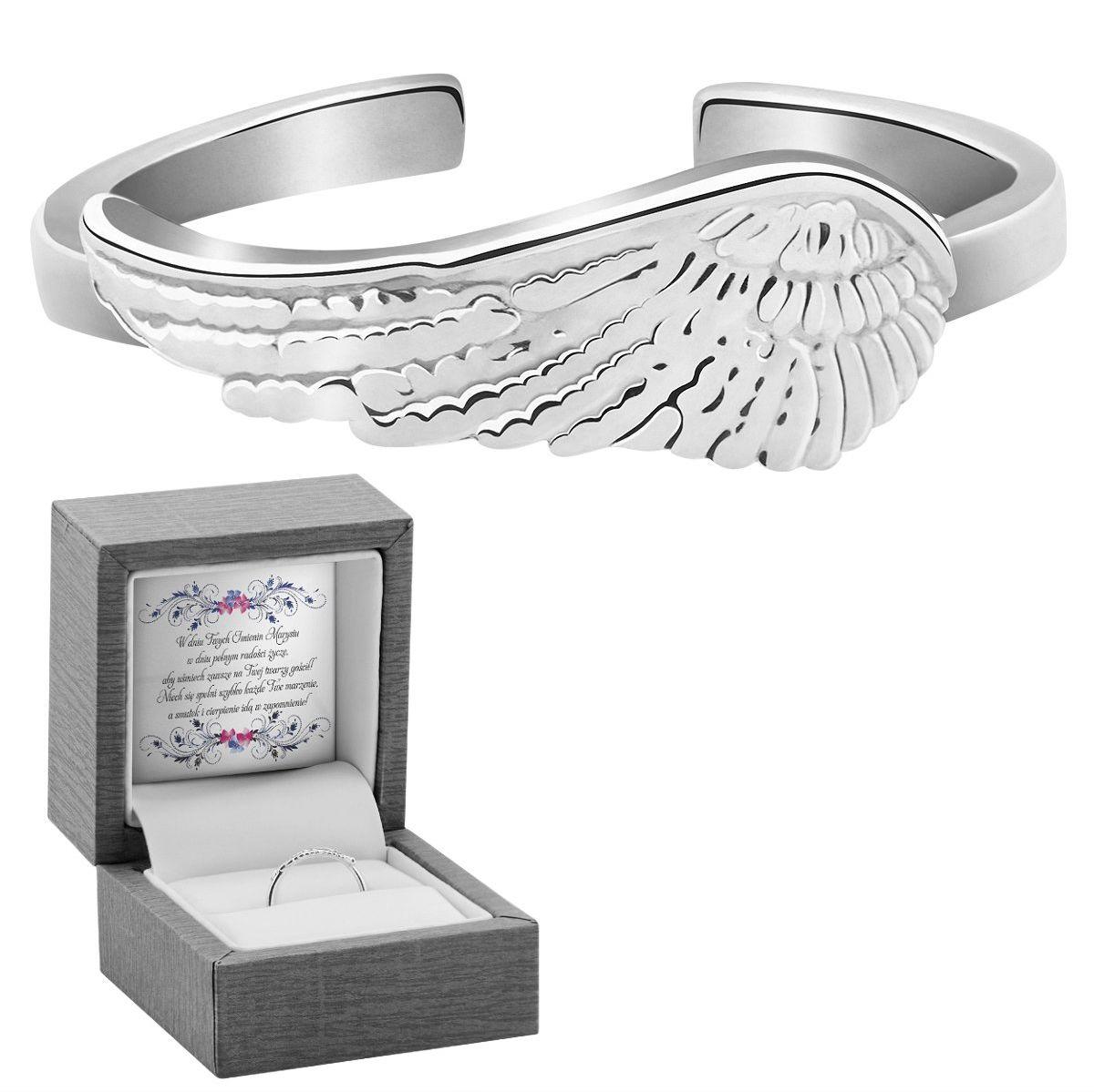 Pierścionek uniwersalny skrzydło srebro 925 Dedykacja