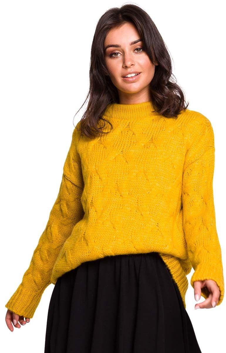 Miodowy Ciepły Sweter z Półgolfem w Warkocze