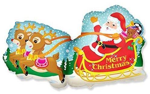 Balon foliowy Mikołaj w saniach